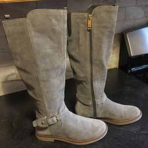 TOMMY HILFIGER GREY LEATHER RIDING BUCKLED BOOTS